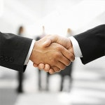 Customer satisfaction and shaking hands