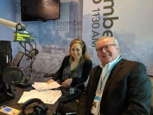 Roger Hargens and Lisa Abramowicz in the Bloomberg Radio studios.