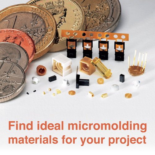 micromolding components next to EU coins.