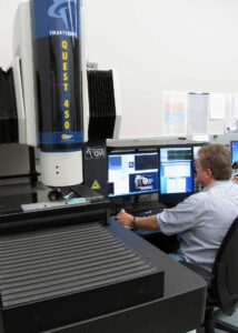 Quality Tech measuring micro mold parts on Quest 450 smart scope vision system.